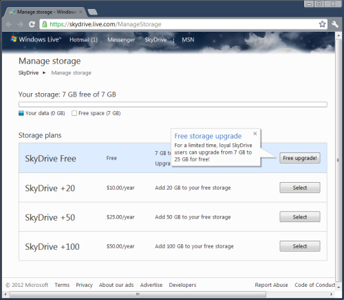 SkyDrive 7 GB to 25 GB upgrade fr current customers - act now!